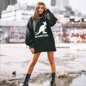 KANGOL Mabel Black Oversized Logo Sweater